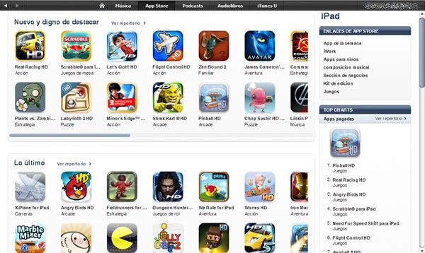 app store ipad abre la tienda de juegos y aplicaciones para el ipad de apple en espa a. Black Bedroom Furniture Sets. Home Design Ideas