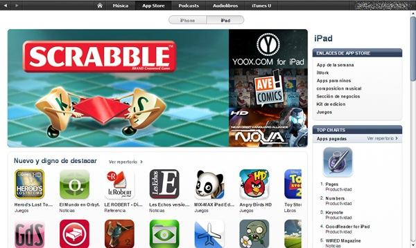 App Store iPad, abre la tienda de juegos y aplicaciones para el iPad de Apple en España