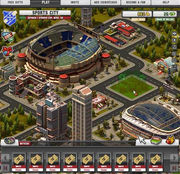 Sports City, un nuevo juego para Facebook, donde crear nuestro imperio deportivo