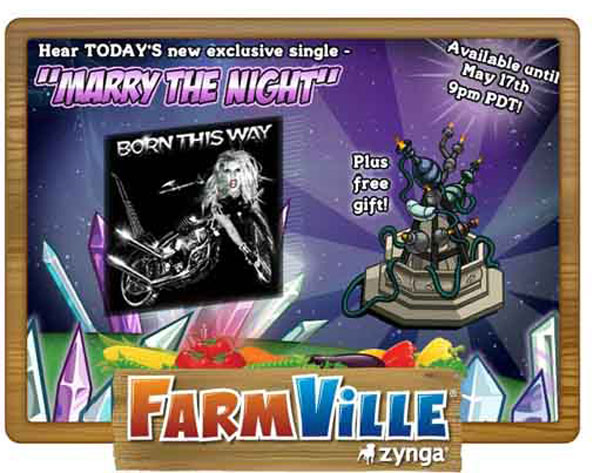 Farmville, promoción del nuevo disco de Lady Gaga «Born This Way» en la granja de Facebook